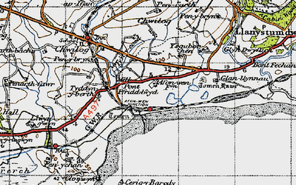 Old map of Afon Wen in 1947