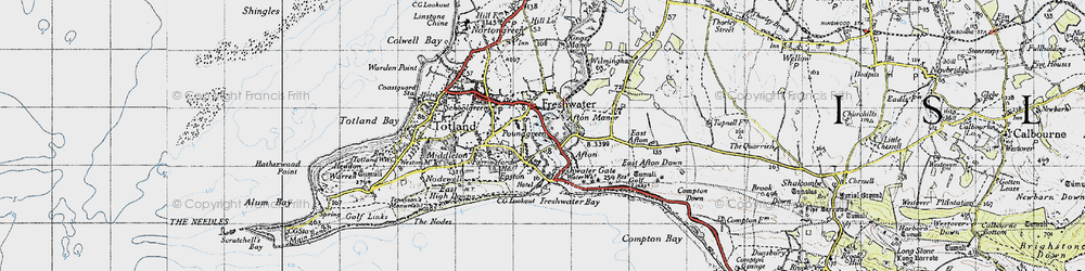 Old map of Afton in 1945