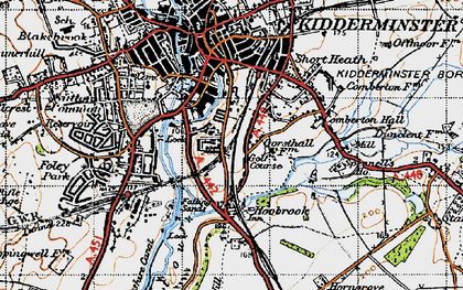 Old map of Aggborough in 1947