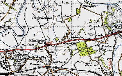 Old map of Whooff Ho in 1947