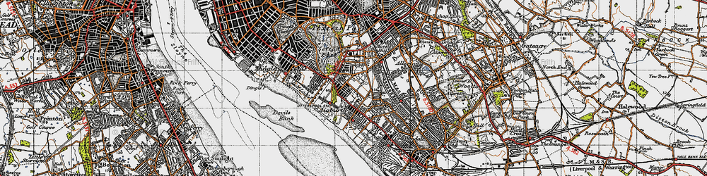 Old map of Aigburth in 1947