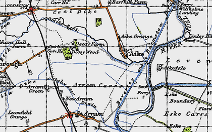 Old map of Wilfholme Landing in 1947