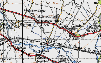 Old map of Ailsworth in 1946