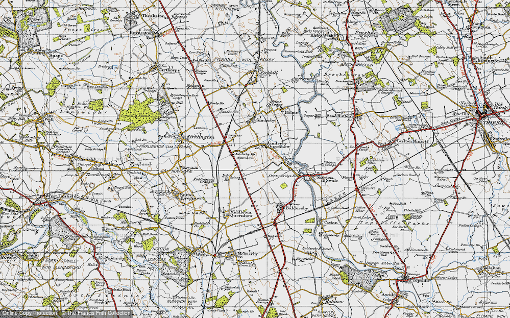 Old Map of Ainderby Quernhow, 1947 in 1947