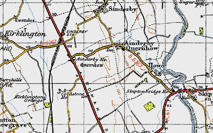 Old map of Ainderby Quernhow in 1947