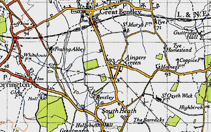 Old map of Aingers Green in 1946