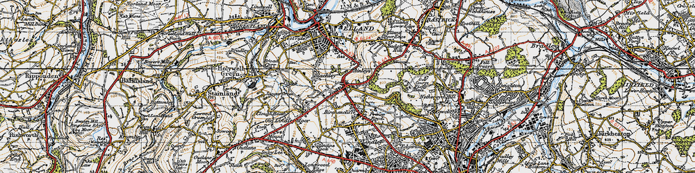 Old map of Ainley Top in 1947