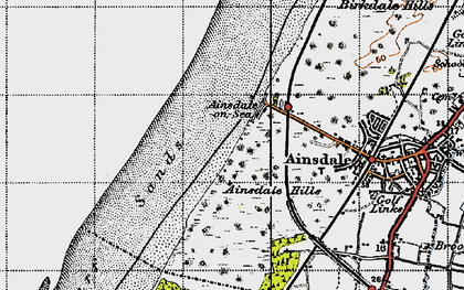Old map of Ainsdale Hills in 1947