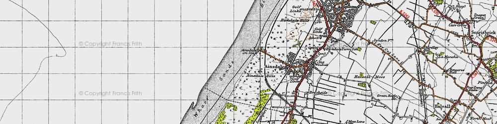 Old map of Ainsdale-on-Sea in 1947