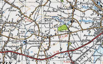 Old map of Ainsworth in 1947