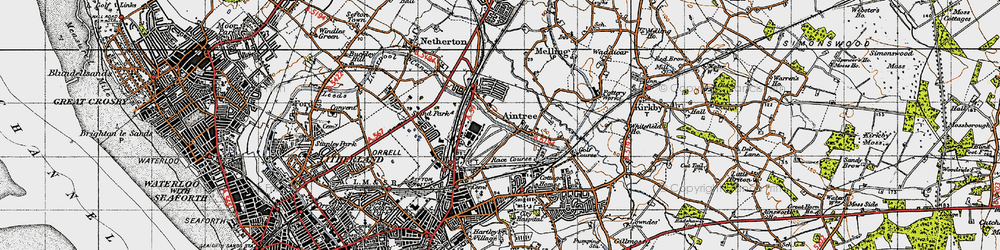 Old map of Aintree in 1947