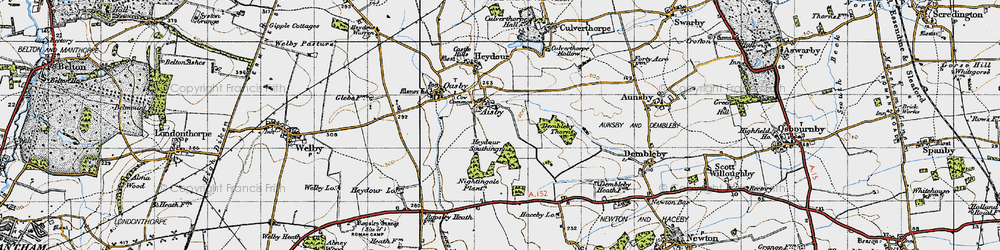 Old map of Aisby in 1946