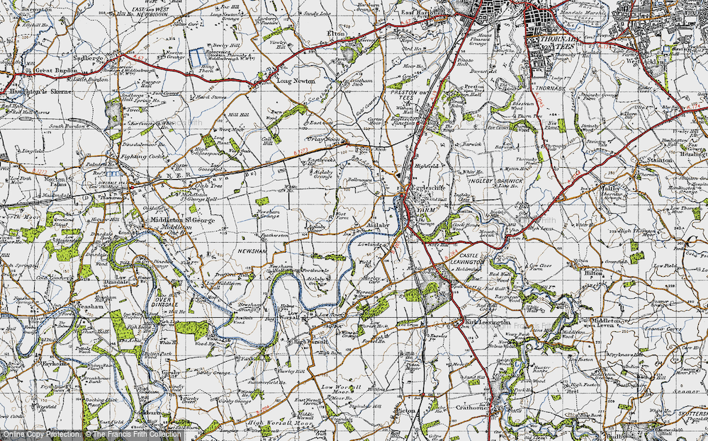 Old Map of Aislaby, 1947 in 1947