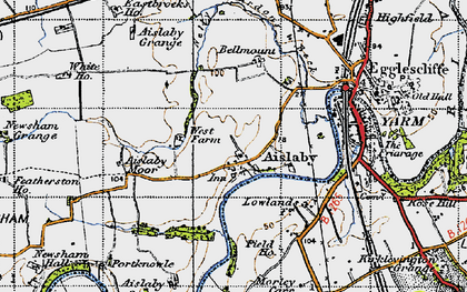 Old map of Aislaby in 1947