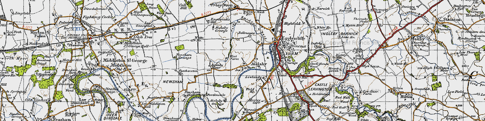 Old map of Aislaby Grange in 1947