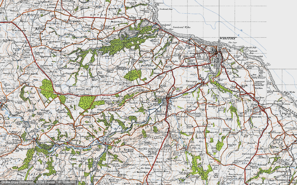 Old Map of Historic Map covering Aislaby Moor in 1947