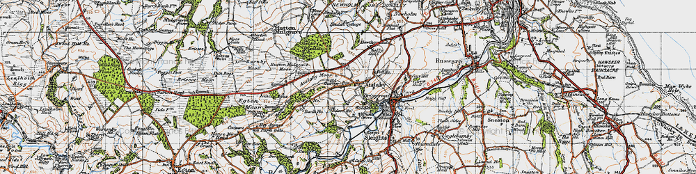 Old map of Aislaby Moor in 1947