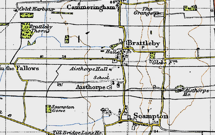Old map of Aisthorpe in 1947