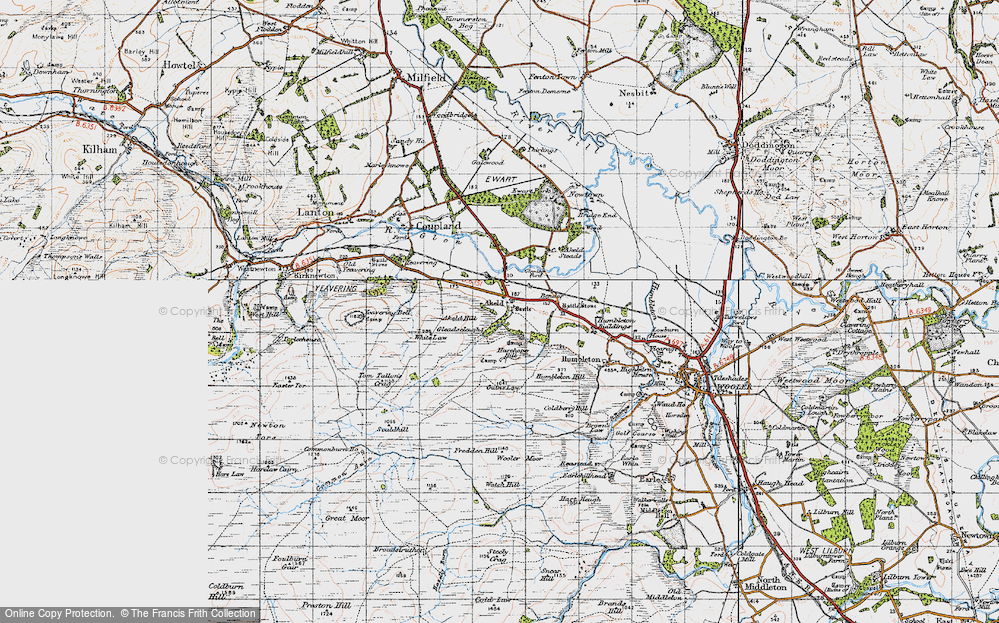 Old Map of Historic Map covering Akeld Steads in 1947