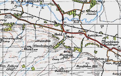 Old map of Akeld Hill in 1947