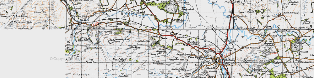 Old map of Tom Tallon's Crag in 1947