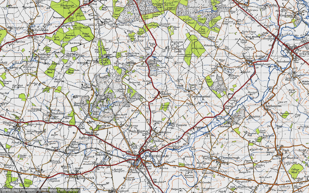 Old Map of Historic Map covering Akeley Wood School in 1946