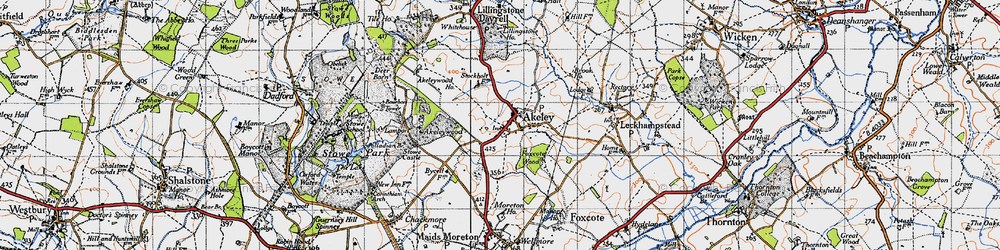 Old map of Akeley in 1946