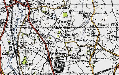 Old map of Akenham Hall in 1946