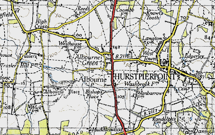 Old map of Albourne in 1940