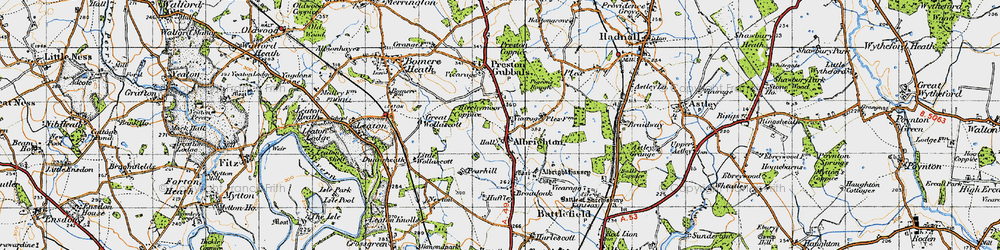 Old map of Albrighton in 1947