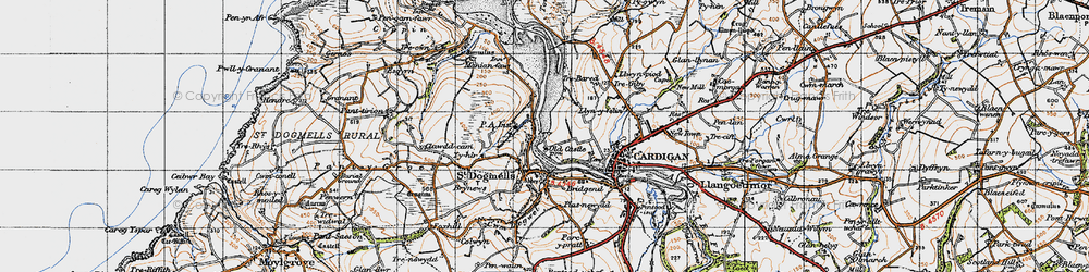 Old map of Albro Castle in 1947