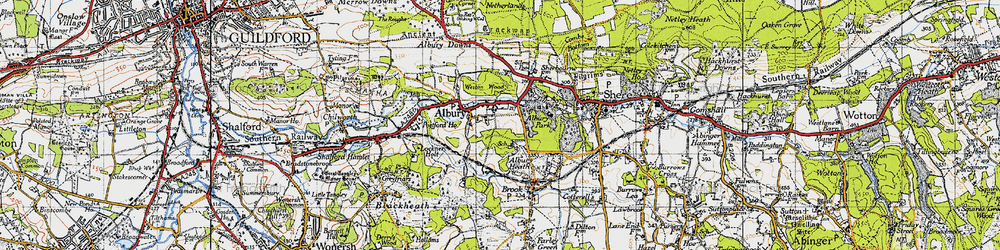 Old map of Tilling Bourne in 1940