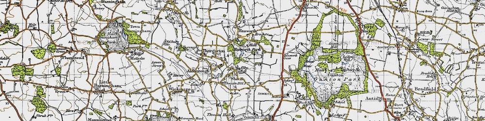 Old map of Alby Hill in 1945