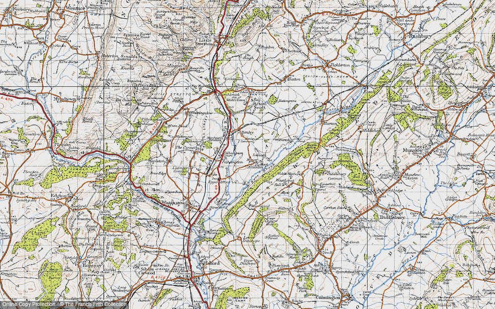 Old Map of Alcaston, 1947 in 1947