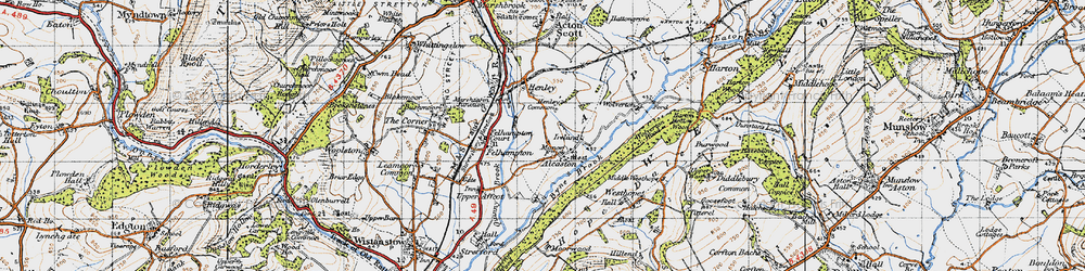 Old map of Alcaston in 1947
