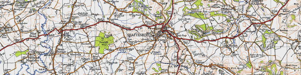 Old map of Alcester in 1945