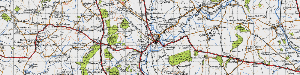 Old map of Alcester in 1947