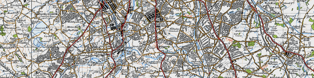 Old map of Alcester Lane's End in 1947