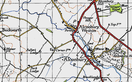 Old map of Alconbury Weston in 1946