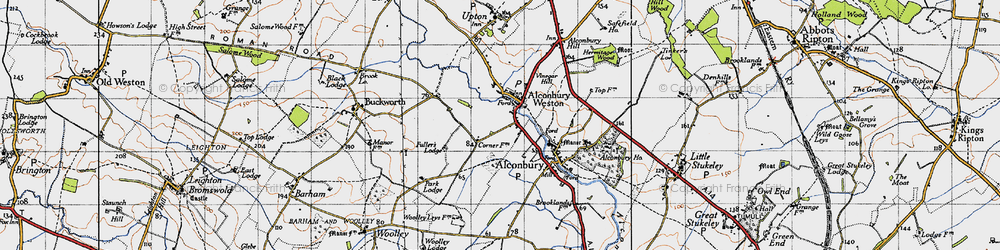 Old map of Alconbury Hill in 1946
