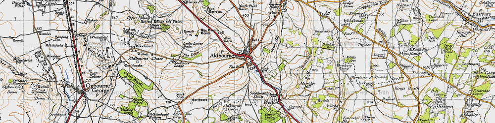 Old map of Aldbourne in 1947