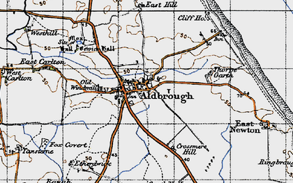 Old map of Aldbrough in 1947