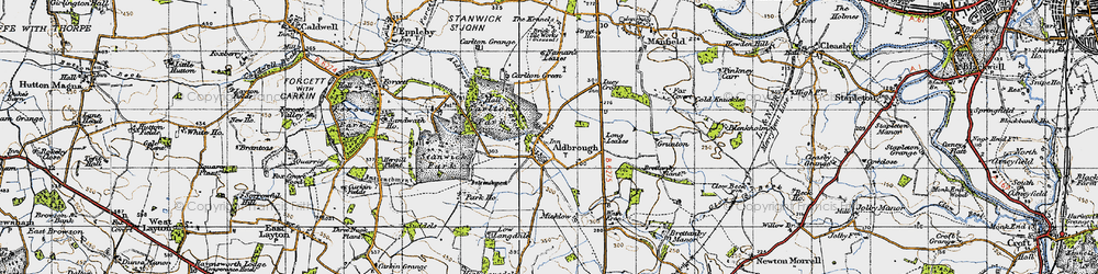 Old map of Aldbrough St John in 1947