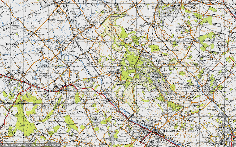 Old Map of Historic Map covering Aldbury Common in 1946