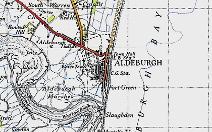 Old map of Aldeburgh Bay in 1946