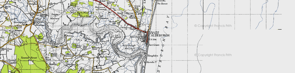 Old map of Aldeburgh in 1946