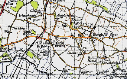 Old map of Aldeby in 1946