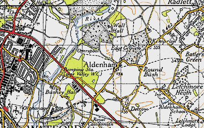 Old map of Aldenham in 1946