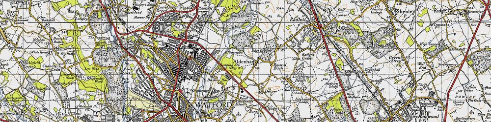Old map of Aldenham in 1946