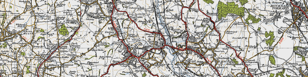 Old map of Aldercar in 1946
